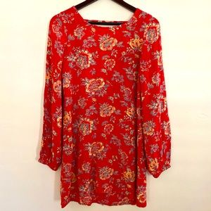 Billabong Red Floral Tunic Dress Size Small